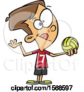 Clipart Of A Cartoon Boy Ready To Serve A Volleyball Royalty Free Vector Illustration