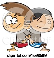 Poster, Art Print Of Cartoon Boys Counter Balancing And Squatting In Gym Class