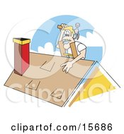 Blond Male Roofer On A Ladder Patching A Roof And Holding A Hammer
