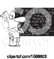 Clipart Of A Cartoon Lineart Male Mathematician Royalty Free Vector Illustration