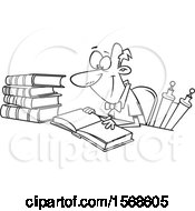 Clipart Of A Cartoon Lineart Male Historian Reading A Book Royalty Free Vector Illustration
