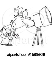 Cartoon Black And White Male Astronomer Viewing Through A Telescope