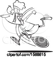 Cartoon Black And White Black Female Tennis Player Swinging Her Racket