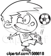 Cartoon Black And White Boy Kicking A Soccer Ball
