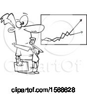 Clipart Of A Cartoon Lineart Economist Business Man Viewing A Growth And Decline Chart Royalty Free Vector Illustration