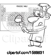 Clipart Of A Cartoon Lineart Male Chemist Conducting An Experiment Royalty Free Vector Illustration