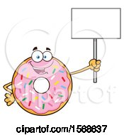 Cartoon Pink Glazed And Sprinkle Donut Mascot Holding Up A Blank Sign