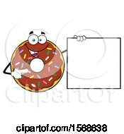 Cartoon Chocolate Glazed And Sprinkle Donut Mascot Holding Up A Blank Sign