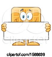 Cartoon Waffle Mascot Character Holding A Blank Sign