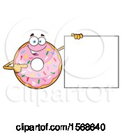 Cartoon Pink Glazed And Sprinkle Donut Mascot Pointing To A Blank Sign