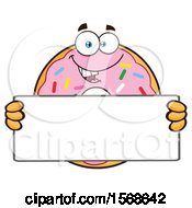 Cartoon Pink Glazed And Sprinkle Donut Mascot Holding A Blank Sign