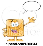 Cartoon Waffle Mascot Character Talking And Waving