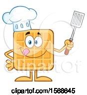 Cartoon Waffle Mascot Chef Character Holding A Spatula