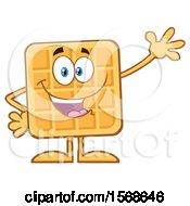 Cartoon Waffle Mascot Character Waving