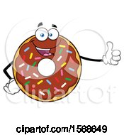 Cartoon Chocolate Glazed And Sprinkle Donut Mascot Giving A Thumb Up