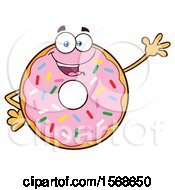 Cartoon Pink Glazed And Sprinkle Donut Mascot Waving