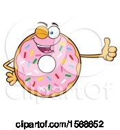 Cartoon Pink Glazed And Sprinkle Donut Mascot Giving A Thumb Up