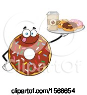 Cartoon Chocolate Glazed And Sprinkle Donut Mascot Holding A Tray Of Donuts And Coffee