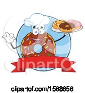 Cartoon Logo Of A Chocolate Glazed And Sprinkle Donut Mascot Holding A Tray Of Donuts And Coffee