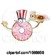 Cartoon American Pink Glazed And Sprinkle Donut Mascot Holding A Tray Of Donuts And Coffee