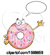 Cartoon Pink Glazed And Sprinkle Donut Mascot Talking And Waving