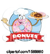 Cartoon Logo Of A Pink Glazed And Sprinkle Donut Mascot Holding A Tray Of Donuts