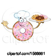 Cartoon Pink Glazed And Sprinkle Donut Mascot Chef Holding A Tray Of Donuts