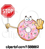 Cartoon Pink Glazed And Sprinkle Donut Mascot Holding A Stop Sign
