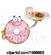 Cartoon Pink Glazed And Sprinkle Donut Mascot Holding A Tray Of Donuts And Coffee