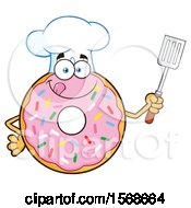 Cartoon Pink Glazed And Sprinkle Donut Mascot Chef Holding A Spatula