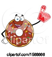 Cartoon Chocolate Glazed And Sprinkle Donut Mascot Wearing A Foam Finger
