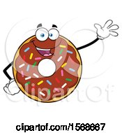 Cartoon Chocolate Glazed And Sprinkle Donut Mascot Waving