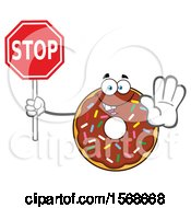 Cartoon Chocolate Glazed And Sprinkle Donut Mascot Holding A Stop Sign