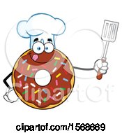 Cartoon Chocolate Glazed And Sprinkle Donut Mascot Chef Holding A Spatula