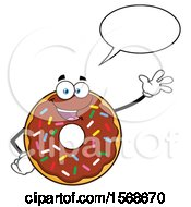 Cartoon Chocolate Glazed And Sprinkle Donut Mascot Talking And Waving
