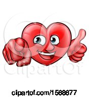 Clipart Of A Cartoon Happy Red Love Heart Character Pointing At You And Giving A Thumb Up Royalty Free Vector Illustration