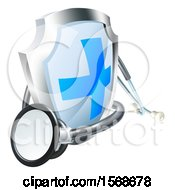 Clipart Of A 3d Stethoscope And A Medical Shield Royalty Free Vector Illustration