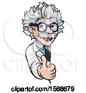 Clipart Of A Cartoon Senior Male Scientist Giving A Thumb Up Around A Sign Royalty Free Vector Illustration by AtStockIllustration