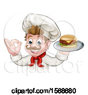 Clipart Of A Cartoon Happy White Male Chef Gesturing Ok And Holding A Cheeseburger On A Tray Royalty Free Vector Illustration