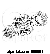 Clipart Of A Black And White Tough Bulldog Monster Sports Mascot Holding Out A Tennis Ball In One Clawed Paw And Breaking Through A Wall Royalty Free Vector Illustration