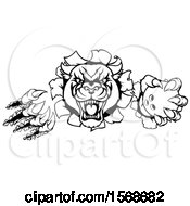Clipart Of A Black And White Panther Mascot Shredding Through A Wall With A Bowling Ball Royalty Free Vector Illustration