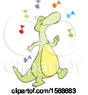 Clipart Of A Cartoon Dinosaur Dancing To Music Royalty Free Vector Illustration by Johnny Sajem