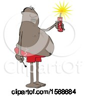 Cartoon Chubby Black Man In Swim Shorts Holding A Firecracker And Match