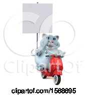 Clipart Of A 3d White Kitty Cat Riding A Scooter On A White Background Royalty Free Illustration