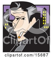 Handsom Rebellious Man Smoking A Cigarette At Night Near A City