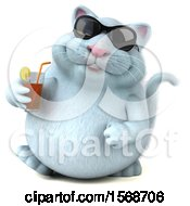 Clipart Of A 3d White Kitty Cat Holding An Iced Tea On A White Background Royalty Free Illustration