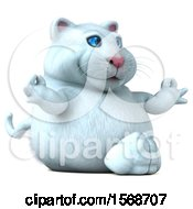 Clipart Of A 3d White Kitty Cat Meditating On A White Background Royalty Free Illustration