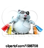 3d White Kitty Cat Carrying Shopping Bags On A White Background