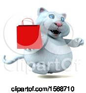 Clipart Of A 3d White Kitty Cat Holding A Shopping Bag On A White Background Royalty Free Illustration