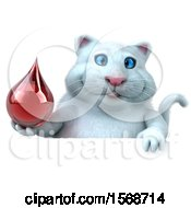 Clipart Of A 3d White Kitty Cat Holding A Blood Drop On A White Background Royalty Free Illustration
